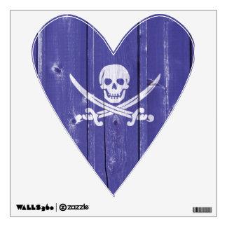 Fun skull cross swords on blue wood panel printed wall sticker