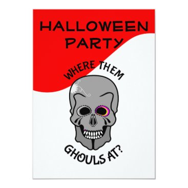 Halloween Themed Fun Skull Halloween Party invitation