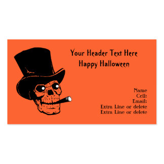 Fun Skull Smoking Cigar Halloween Costume Prop Double-Sided Standard Business Cards (Pack Of 100)