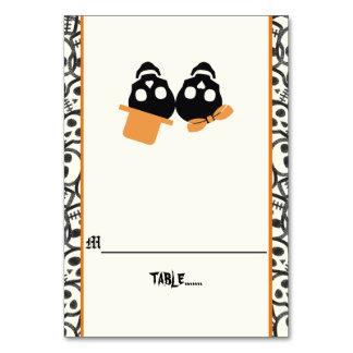 Fun skulls Halloween orange wedding escort card
