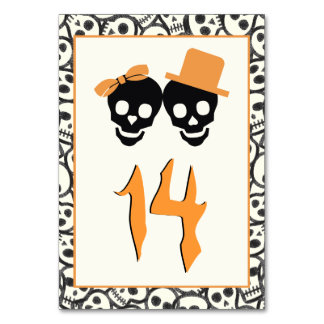 Fun skulls Halloween orange wedding table number Card