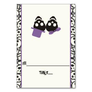 Fun skulls Halloween purple wedding escort card