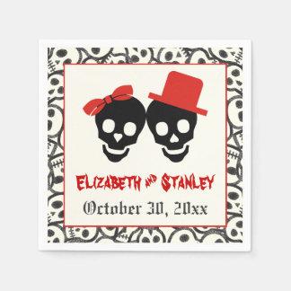 Fun skulls Halloween red and black wedding Paper Napkin