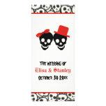 Fun skulls Halloween red wedding program Rack Card Design