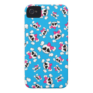 Fun sky blue skulls and bows pattern iPhone 4 Case-Mate case