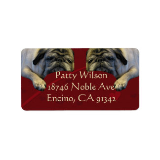 Fun Sleepy Pug Address Labels