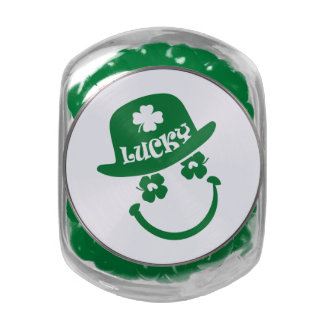 Fun Smiley Face St. Patrick's Day Candy Glass Jar