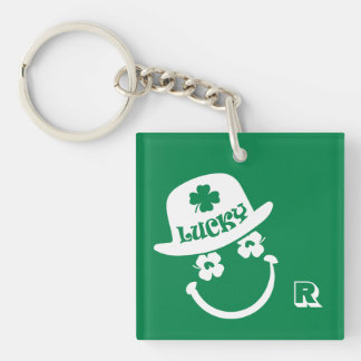 Fun Smiley Face St. Patrick's Day Gift Keychains