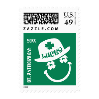 Fun Smiley Face St. Patrick's Day Postage Stamps