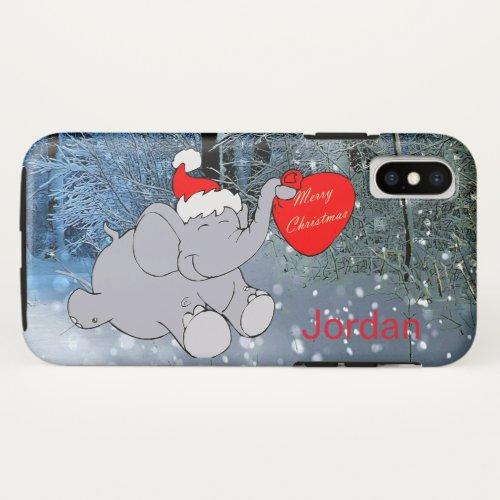 Fun Smiling Elephant Santa Hat Name Christmas iPhone X Case