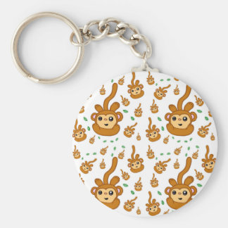 Fun smiling green Sock Monkey Happy Pattern Keychain