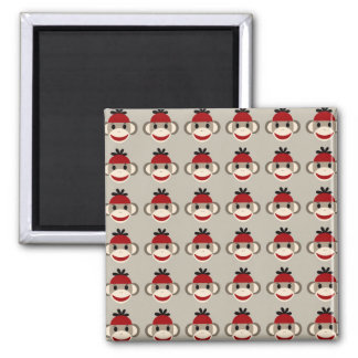 Fun Smiling Red Sock Monkey Happy Patterns 2 Inch Square Magnet