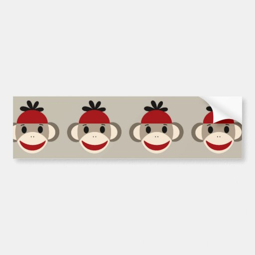 Fun Smiling Red Sock Monkey Happy Patterns Bumper Sticker