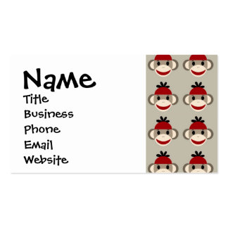 Fun Smiling Red Sock Monkey Happy Patterns Business Card Template