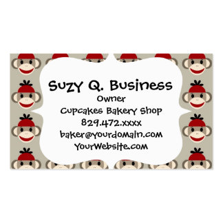 Fun Smiling Red Sock Monkey Happy Patterns Business Card