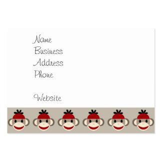Fun Smiling Red Sock Monkey Happy Patterns Large Business Cards (Pack Of 100)