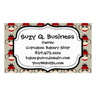 Fun Smiling Red Sock Monkey Happy Patterns Business Cards