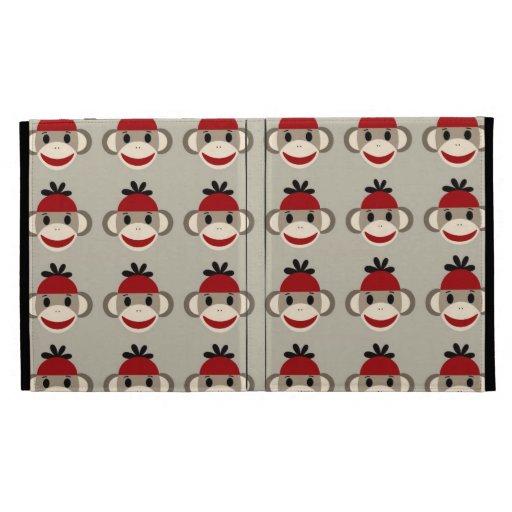 Fun Smiling Red Sock Monkey Happy Patterns iPad Folio Case