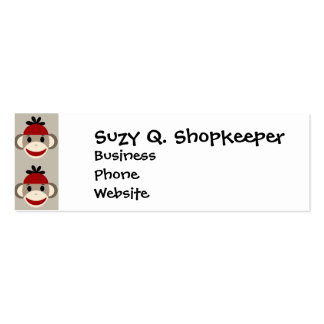 Fun Smiling Red Sock Monkey Happy Patterns Double-Sided Mini Business Cards (Pack Of 20)