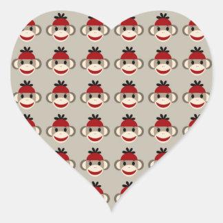 Fun Smiling Red Sock Monkey Happy Patterns Heart Sticker