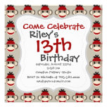 Fun Smiling Red Sock Monkey Happy Patterns Personalized Invitation