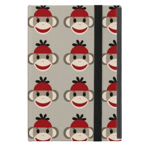 Fun Smiling Red Sock Monkey Happy Patterns iPad Mini Case