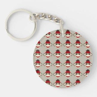 Fun Smiling Red Sock Monkey Happy Patterns Keychain