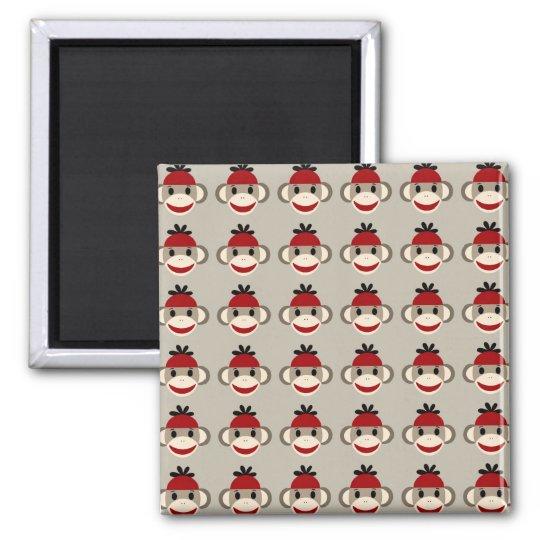 Fun Smiling Red Sock Monkey Happy Patterns Magnet