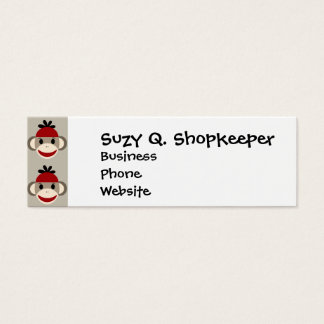 Fun Smiling Red Sock Monkey Happy Patterns Mini Business Card