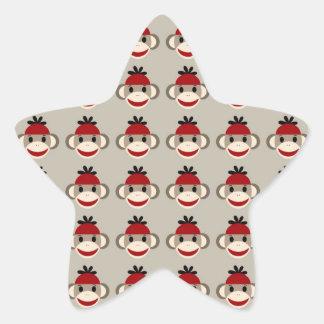 Fun Smiling Red Sock Monkey Happy Patterns Star Sticker