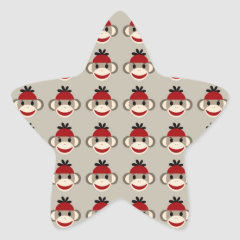 Fun Smiling Red Sock Monkey Happy Patterns Stickers