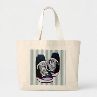 Fun Sneakers Blue White Stripe Large Tote Bag