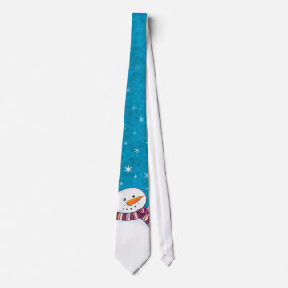 Fun Snowman and Snowflakes Novelty Christmas Tie