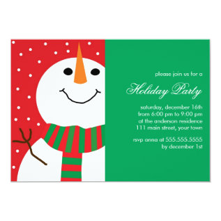 Fun Snowman Christmas Party Card at Zazzle