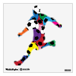 Fun Soccer Ball Player Outline Wall Skins