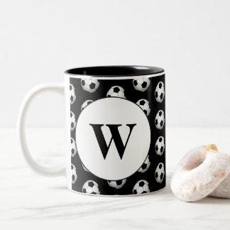 Fun soccer ball sports monogram coffee mug