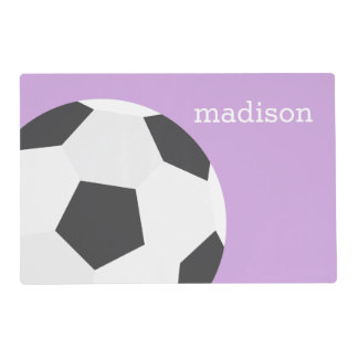 Fun Soccer Themed Girls Placemat
