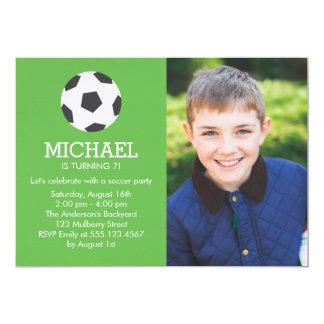 Fun Soccer Themed Photo Birthday Party Card
