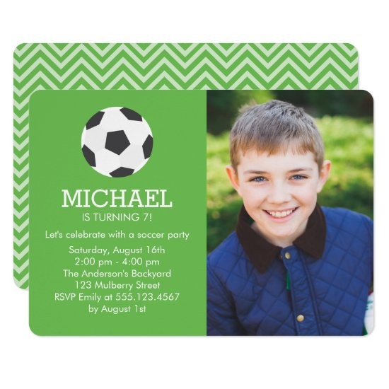 Fun Soccer Themed Photo Birthday Party Invitation