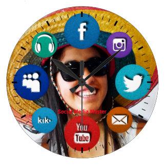 Fun Social Media Master Large Clock