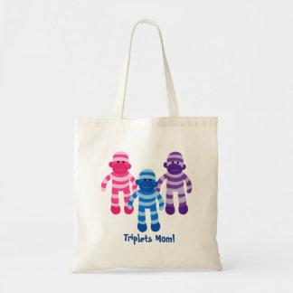 Fun Sock Monkeys Triplets Mom Tote Bag