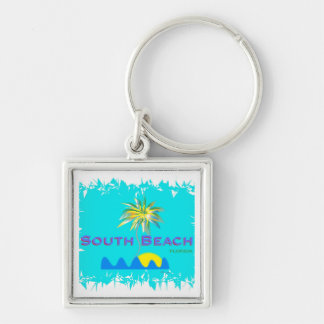 Fun South Beach, Florida, Cool Silver-Colored Square Keychain
