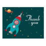 Fun space rocket birthday thank you photo postcard