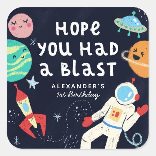 Fun Space Theme Birthday Party Favor Square Sticker