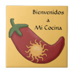"""Fun Spanish Hot Red Chile Pepper Kitchen Welcome Ceramic Tile<br><div class=""""desc"""">SPANISH LANGUAGE VERSION! (En espa&#241;ol, espanol, o lengua espa&#241;ola.) Kitchen housewares. The words &quot;Bienvenidos a Mi Cocina&quot; mean &quot;Welcome to My Kitchen&quot;! Cute and colorful graphics design with an Arizona or New Mexico flavor. Red chili pepper stuffed with a golden yellow sun. A chile relleno! Fun for the Spanish-speaking hot...</div>"""