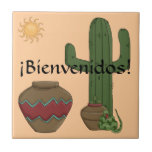 Fun Spanish Welcome Southwestern Desert Scene Tiles