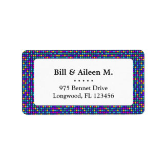 Fun sparkling blue small colorful dots label