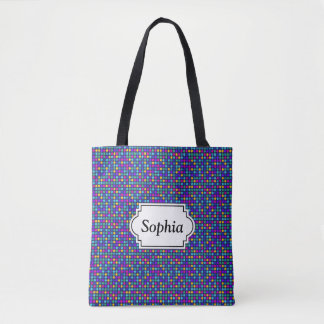Fun sparkling blue small colorful dots tote bag