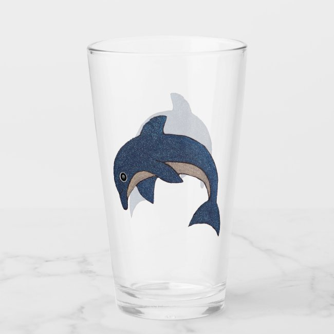 Fun Sparkling Blue White Jumping Ocean Dolphin