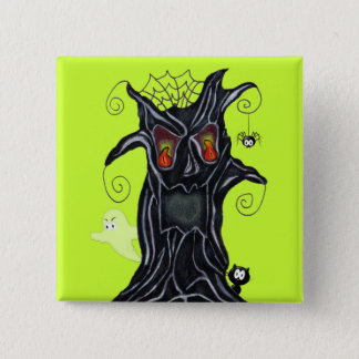 Fun Spooky Black Tree Flame Eyes ghost Cat Spider Pinback Button